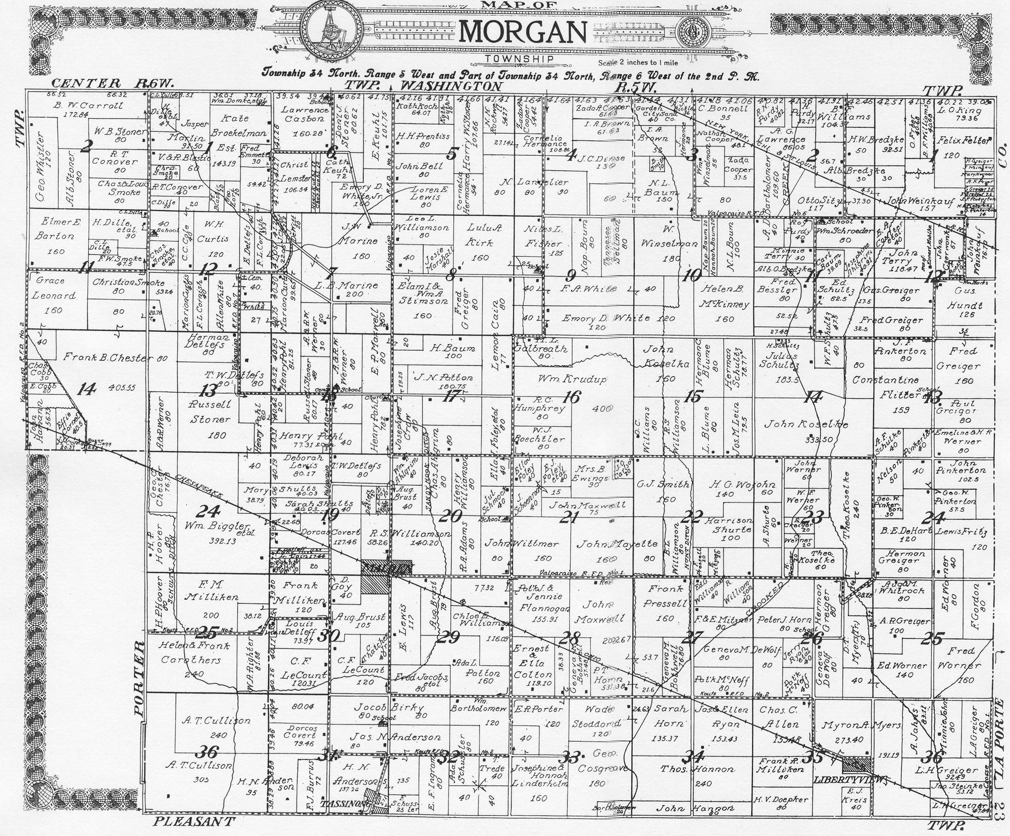 Porter County Indiana Genweb Morgan Township Maps