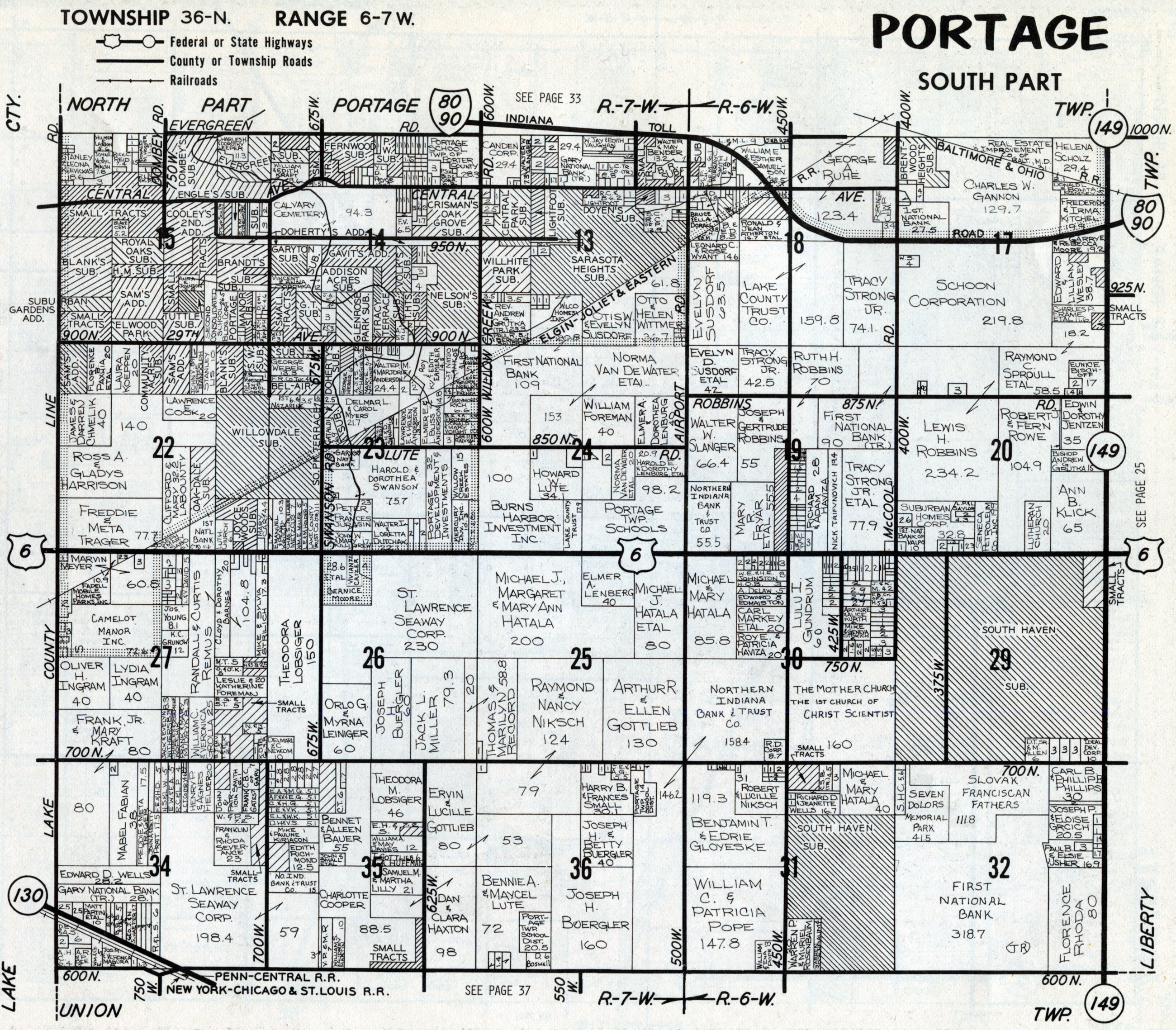 Porter County Indiana Genweb Township Plat Maps 1974